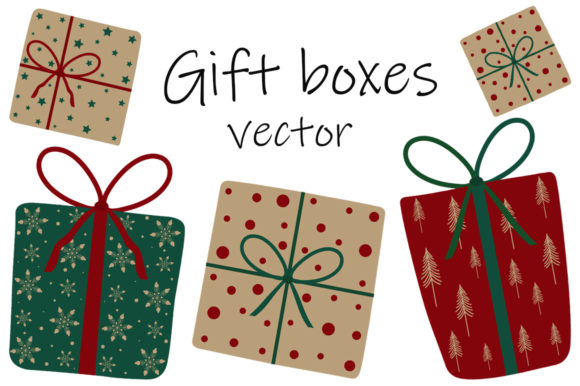 Gift Boxes New Year Christmas Vector Graphic Illustrations By shishkovaiv