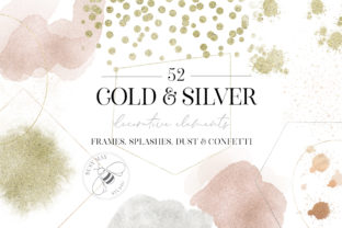 Print on Demand: Gold Rose Gold Dust Confetti PNG Frames Graphic Illustrations By Busy May Studio 2