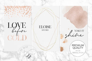 Print on Demand: Gold Rose Gold Dust Confetti PNG Frames Graphic Illustrations By Busy May Studio 3