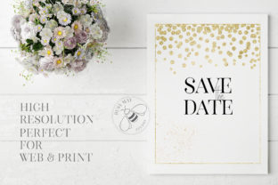 Print on Demand: Gold Rose Gold Dust Confetti PNG Frames Graphic Illustrations By Busy May Studio 4