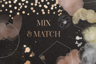 Print on Demand: Gold Rose Gold Dust Confetti PNG Frames Graphic Illustrations By Busy May Studio 6