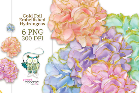Print on Demand: Gold Trimmed Watercolor Hydrangeas Graphic Illustrations By Digital Doodlers