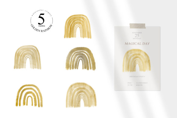 Print on Demand: Gold Rainbow Clipart Set. PNG Format Graphic Illustrations By Tiana Geo
