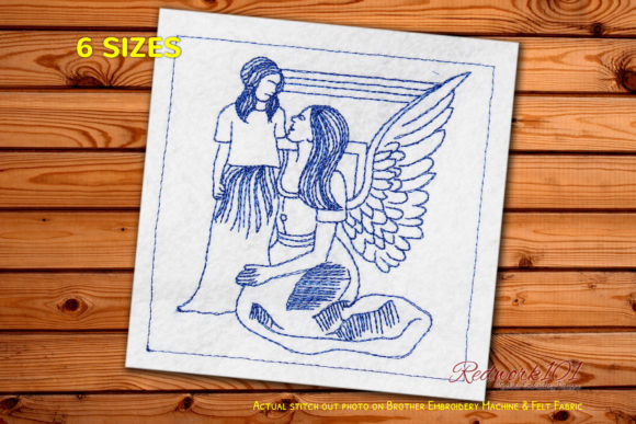 Guardian Angels with Child Redwork Religion & Faith Embroidery Design By Redwork101