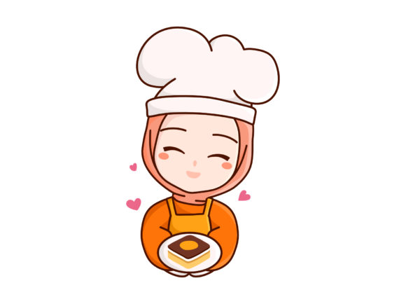 Print on Demand: Hijab Chef Holding Dessert Box and Love Graphic Illustrations By Musbila