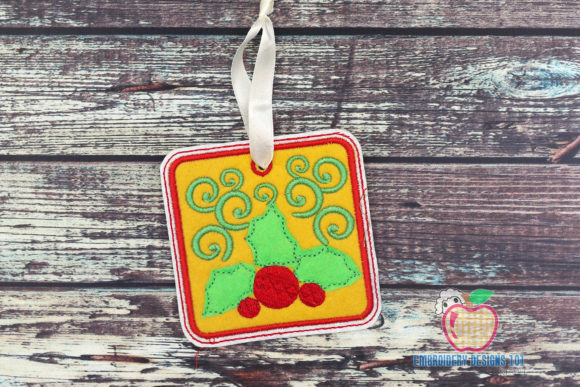 Holly Leaves with Berries Ornament Christmas Embroidery Design By embroiderydesigns101