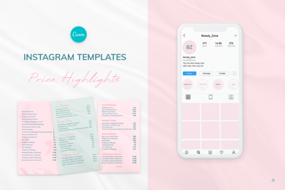 Print on Demand: Instagram Highlights & Price Templates Graphic Instapage By milagro.mst