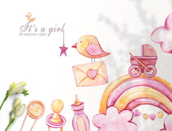 Print on Demand: It's a Girl Clipart. Baby Girl Png Set Graphic Illustrations By Tiana Geo