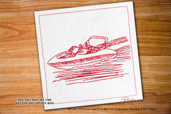 Jetski Speedboat Redwork Beach & Nautical Embroidery Design By Redwork101