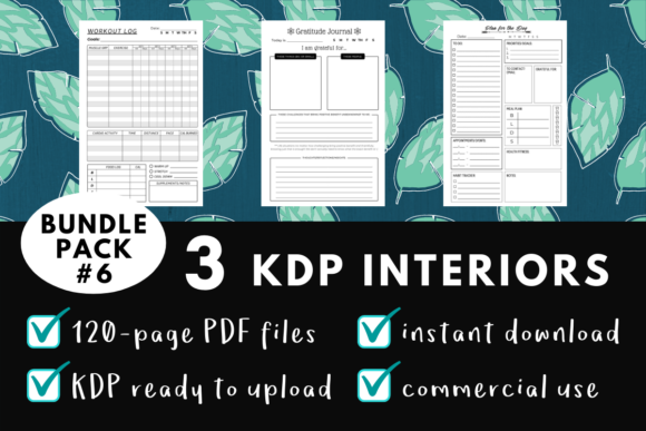 Print on Demand: KDP Interior Pack #6 - 3 Templates! Graphic KDP Interiors By mothmos