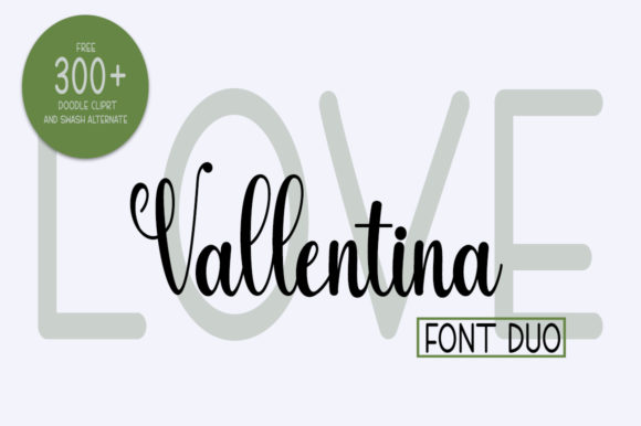 Print on Demand: Love Vallentina Duo Script & Handwritten Font By Fillo Graphic