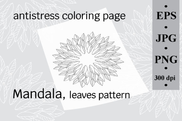 Mandala Leaves Pattern, Coloring Page Graphic Coloring Pages & Books Adults By SunnyColoring
