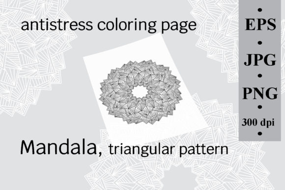 Mandala Triangular, Antistress Coloring Graphic Coloring Pages & Books Adults By SunnyColoring