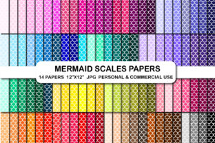 Mermaid Fish Scales Digital Papers Set Graphic Backgrounds By bestgraphicsonline