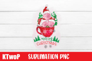 Print on Demand: Merry Christmas Sublimation Pink Pigs Graphic Illustrations By KtwoP