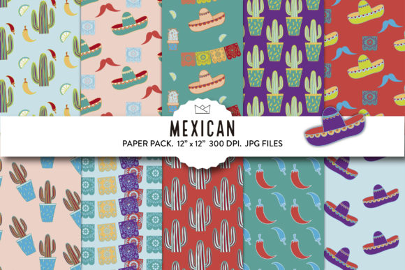 Mexican Digital Paper, 5 De Mayo, Papers Graphic Patterns By Nina Prints