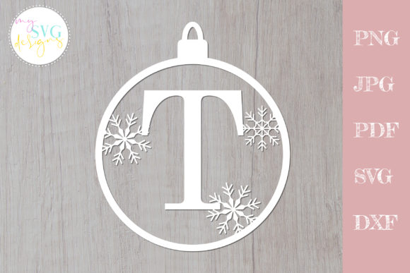 Monogram Svg T, Christmas Ornament Svg Graphic Crafts By MySVGDesigns