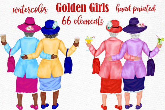 Old Ladies Clipart Golden Girls Graphic Illustrations By LeCoqDesign