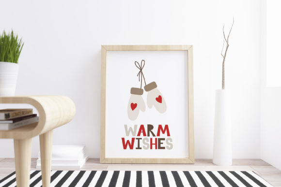 Printable Christmas Card with Mittens Graphic Illustrations By veidgenn