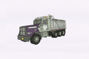 Purple & White Truck Transportation Embroidery Design By DigitEMB