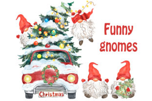 Red Gnomes Clipart. Merry Christmas Tree Graphic Illustrations By EvArtPrint