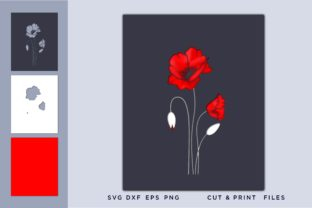 Red Poppies, Flower Graphic 3D SVG By 2dooart
