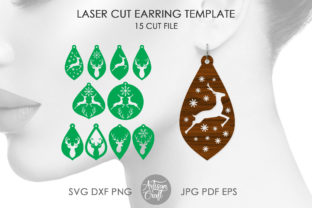 Print on Demand: Reindeer Earrings Laser Cut Files Graphic 3D SVG By Artisan Craft SVG