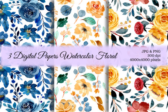 Print on Demand: Seamless Pattern Floral Watercolor 43 Graphic Patterns By asrulaqroni