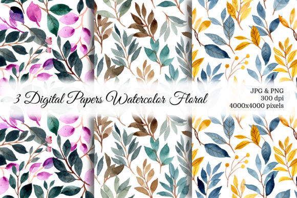 Print on Demand: Seamless Pattern Leaves Watercolor 7 Graphic Patterns By asrulaqroni