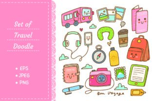 Set of Kawaii Style Travel Doodles Graphic Illustrations By Big Barn Doodles