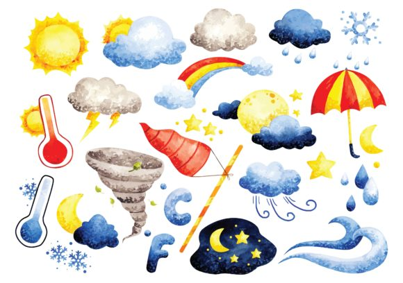 Set of Weather Doodles Watercolor Vector Graphic Illustrations By Big Barn Doodles