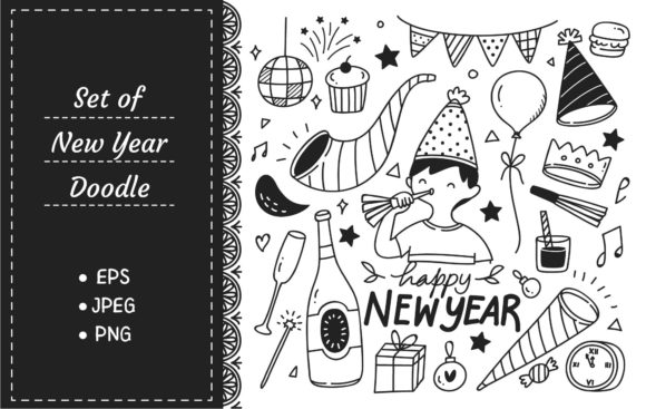 Set on New Year Doodles Graphic Illustrations By Big Barn Doodles