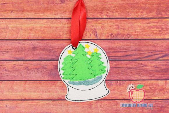 Snow Globe with a Christmas Tree Christmas Embroidery Design By embroiderydesigns101