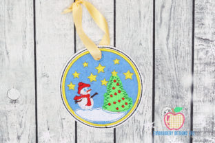 Snowman with Christmas Tree ITH Ornament Christmas Embroidery Design By embroiderydesigns101