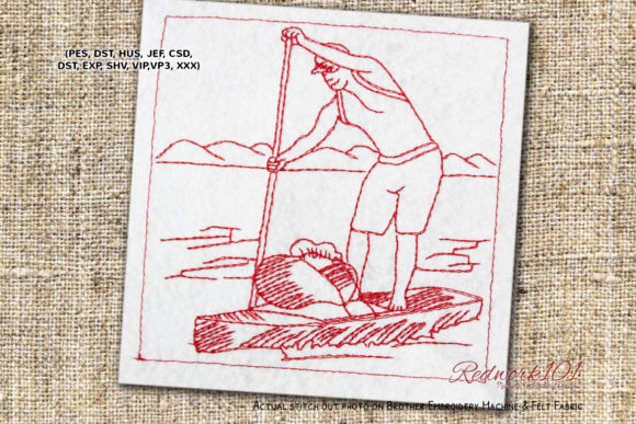 Stand Up Paddle Boating Lineart Beach & Nautical Embroidery Design By Redwork101