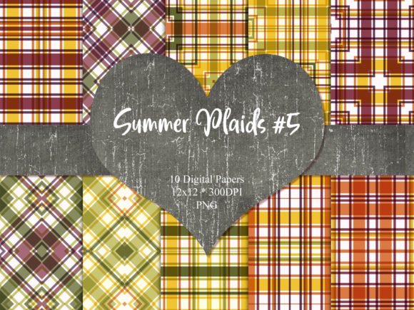 Print on Demand: Summer Plaid 5 Graphic Patterns By Whiskey Black Designs