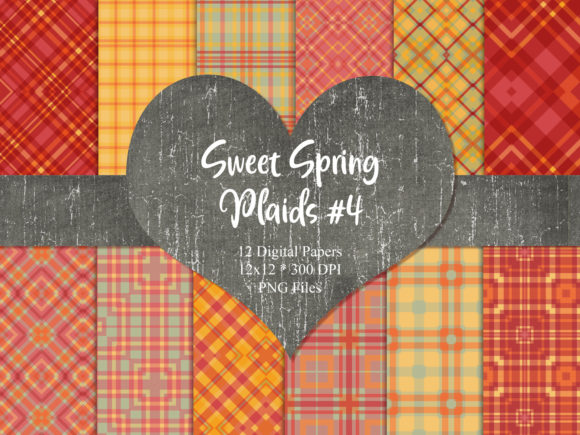Print on Demand: Sweet Spring Plaids 4 Graphic Backgrounds By Whiskey Black Designs