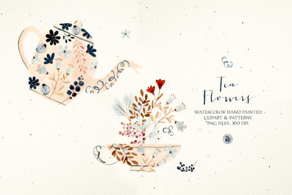 Print on Demand: Tea Flowers - Watercolor Set Graphic Illustrations By webvilla