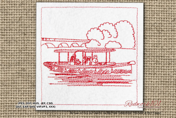 Tourist Boating Redwork Beach & Nautical Embroidery Design By Redwork101
