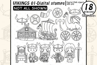 Viking Digital Stamps, Nordic Clipart Graphic Illustrations By clipartfables