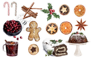 Print on Demand: Watercolor Christmas Treats Festive Food Graphic Illustrations By Busy May Studio 5
