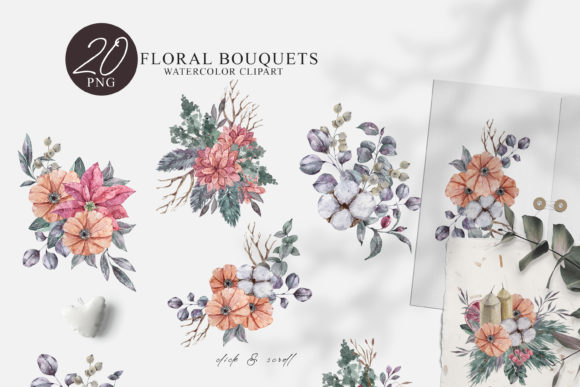 Print on Demand: Watercolor Christmas Bouquet Clipart Set Graphic Illustrations By Tiana Geo