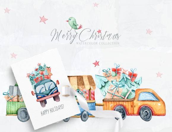 Print on Demand: Watercolor Christmas Clipart. Truck Set Graphic Illustrations By Tiana Geo