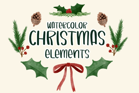 Watercolor Christmas Elements Png Graphic Illustrations By iareCotton Duck