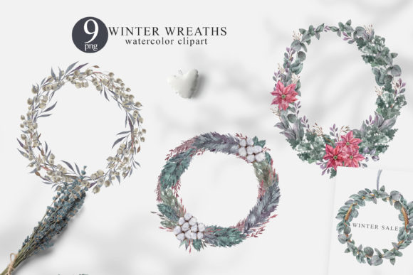 Print on Demand: Watercolor Christmas Wreath Clipart Set Graphic Illustrations By Tiana Geo