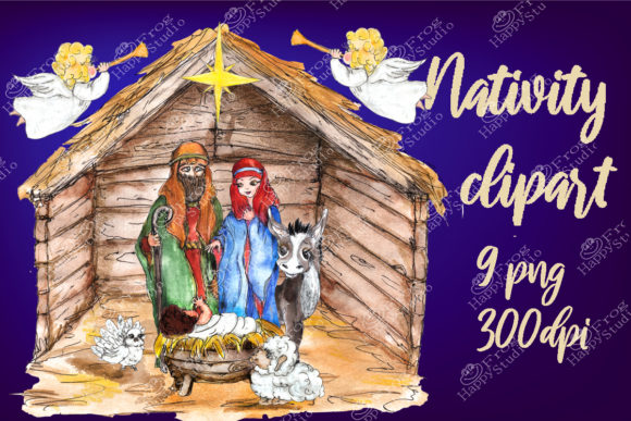 Watercolor Nativity Scene Clipart Pack Graphic Illustrations By arevkasunshine