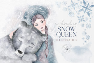Watercolor Winter Christmas Snow Queen Graphic Illustrations By Busy May Studio