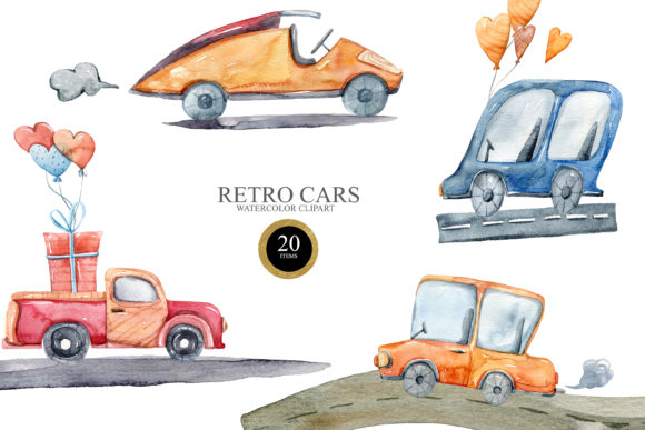 Print on Demand: Watercolor Cute Cars Clipart. Transport Graphic Illustrations By Tiana Geo