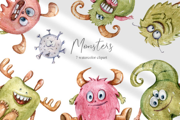 Print on Demand: Watercolor Monster Clipart. Coronavirus Graphic Illustrations By Tiana Geo