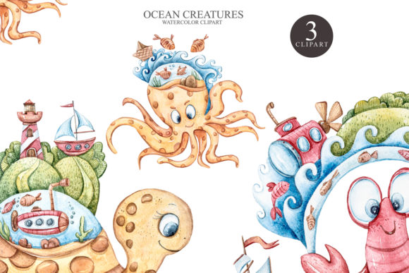 Print on Demand: Watercolor Underwater Clipart. Fantasy Graphic Illustrations By Tiana Geo